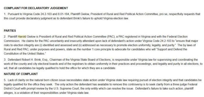 Virginia Lawsuit Seeks Court Judgment on Election Officer's Vetting of Kamala Harris